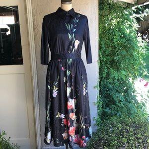 STYLEWE poly satin brocade floral full skirt dress
